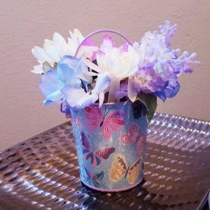 Flower Arrangement w/ Butterfly Pattern Flower Pot